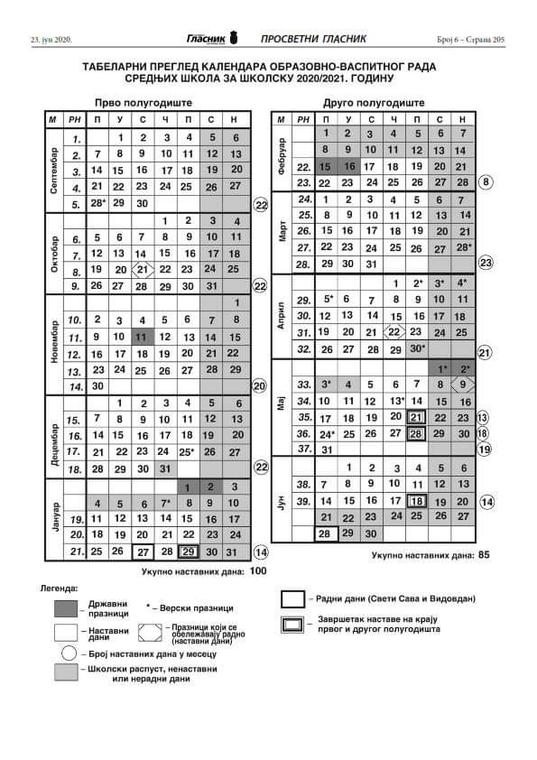Школски календар 2020/21. | ГВБ огласна табла